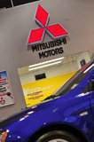 26 September 2012 - The Mitsubishi name and logo is seen in the showroom at the Flag Mitsubishi dealership, in Surrey, B.C., Canada. Credit: Adrian Brown - N49Photo.