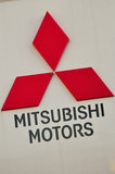 26 September 2012 - The Mitsubishi name and logo is seen on the exterior of the Flag Mitsubishi dealership, in Surrey, B.C., Canada. Credit: Adrian Brown - N49Photo.