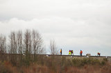 26 March 2012 - A crew of workers performs maintenance on a section of train track that terminates in Deltaport, beside Highway 99 and Ladner Trunk Road, in Delta, B.C., Canada. Credit: Adrian Brown - N49Photo.