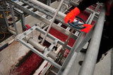 22 October 2012 - A worker operates a valve that allows water to flow into the top of a tractor trailer load of cranberries, at the brand new, state-of-the-art Ocean Spray of Canada Ltd., Richmond Receiving Station, in Richmond, B.C., Canada. Credit: Adrian Brown - N49Photo.
