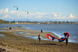25 September 2013 - White Rock, B.C., Canada - A man carries his kiteboard equipment, as others fly their kites and kiteboard on East Beach, on the Semiahmoo First Nation reserve just south of the city of White Rock. Drayton Harbor and the US coastline are seen in the distance, as well as US Customs control in Blaine, WA, centre left. Photo Credit: Adrian Brown / Sipa Press.